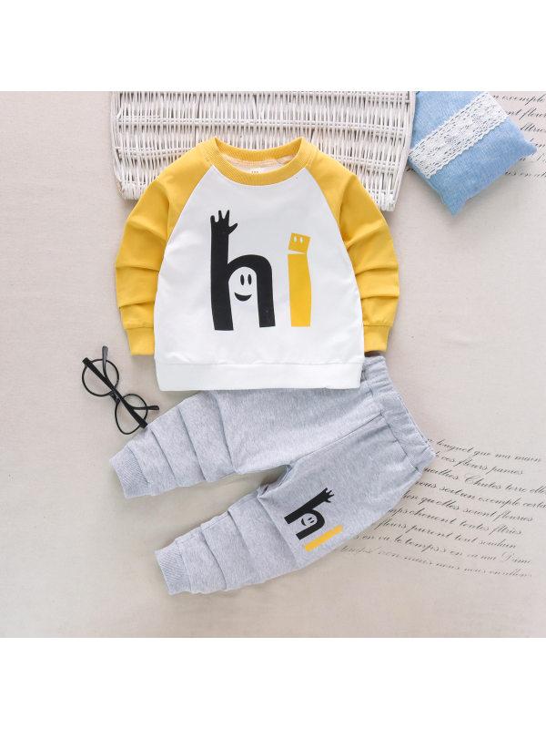 【18M-7Y】Boys Letter Print Long Sleeve Sweatshirt And Pants Set
