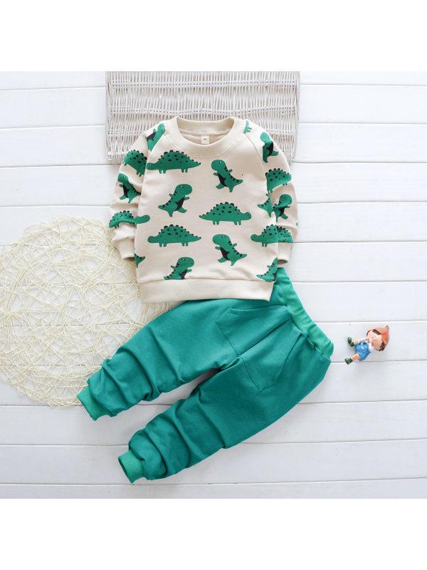 【6M-4Y】Boys Dinosaur Print Long Sleeve Sweatshirt And Pants Set