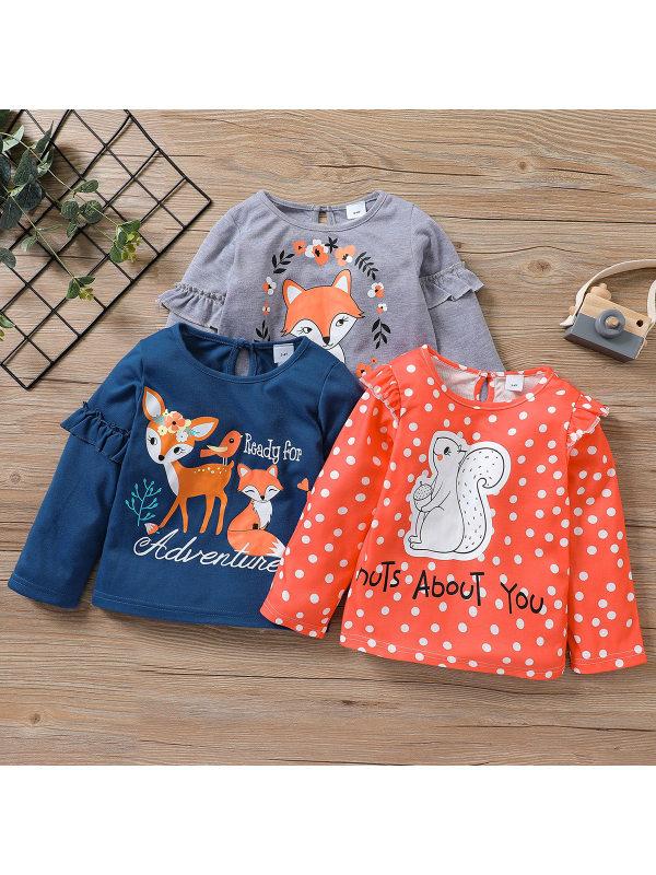 【18M-7Y】Girls Cartoon Print Round Neck Ruffled Long Sleeve T-shirt