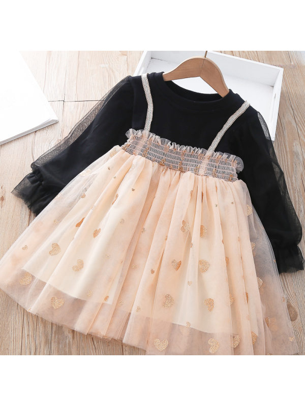 【18M-7Y】Girls Sweet Tulle Puff Sleeve Splicing Layered Tulle Dress