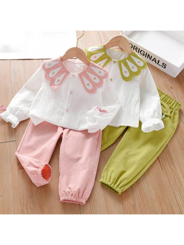 【18M-9Y】Girls Sweet Dollar Collar Shirt And Pants Set