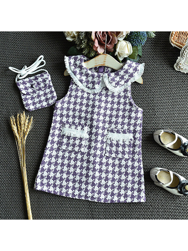 【18M-7Y】Girls Sweet Lapel Sleeveless Plaid Dress