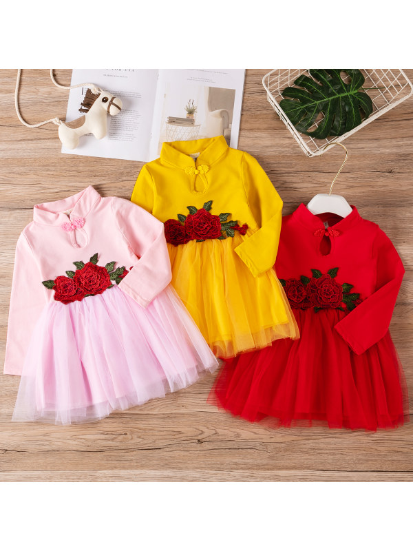 【18M-7M】Girls Long-sleeved Cheongsam Splicing Layered Tulle Dress