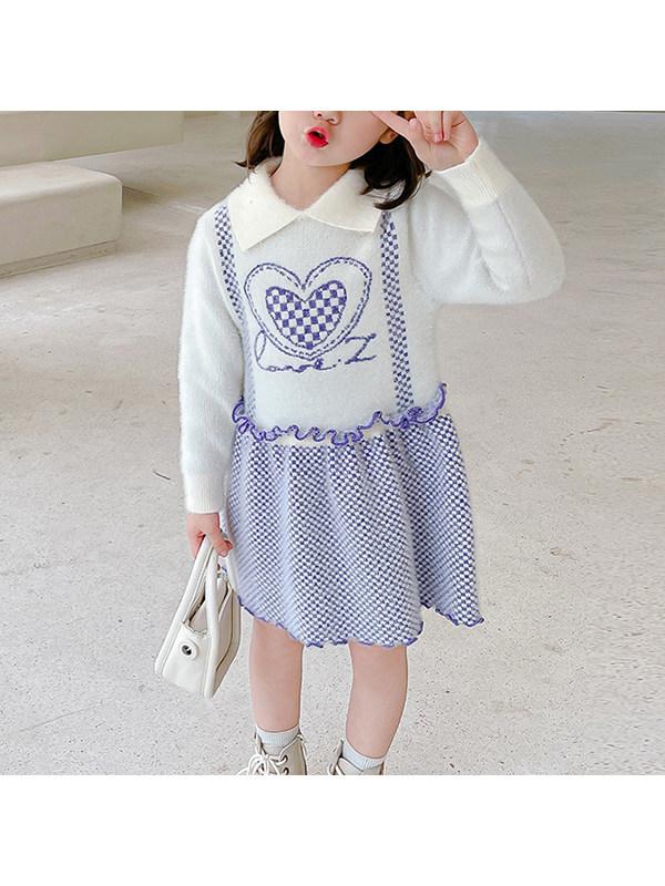 【18M-7Y】Girls Love Printed Long Sleeve Dress