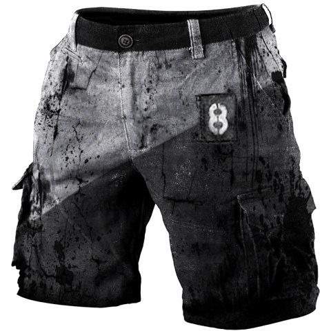 Mens outdoor tactical distressed printed short