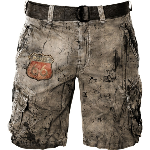 Mens outdoor tactical retro route 66 printed short