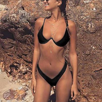 Halter  Backless Cutout Patchwork  Plain Bikini