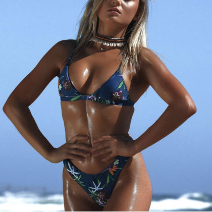 Daily Summer Floral Printed  Triangle Swimwear