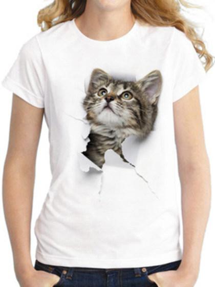 Round Neck  Animal Prints Short Sleeve T-Shirts