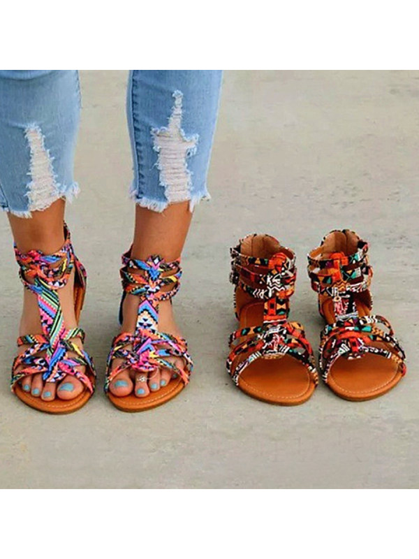 58c9314494f8 Floral Flat Ankle Strap Peep Toe Casual Gladiator Sandals - Limema.com