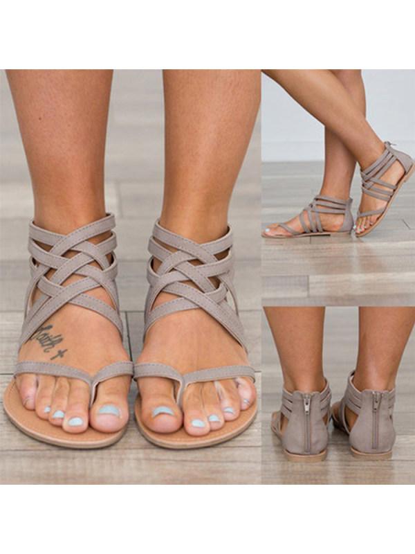 a630175c4a01 Plain Flat Ankle Strap Peep Toe Casual Gladiator Sandals - Limema.com