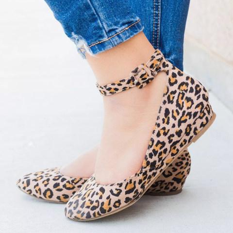 Animal Printed Velvet Ankle Strap Round Toe Closed Toe Wedges