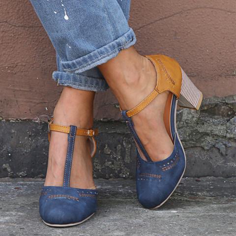 Chunky High Heeled Round Toe Date Platform Sandals