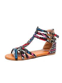 2f84b3fd98a Floral Flat Ankle Strap Peep Toe Casual Gladiator Sandals - Limema.com