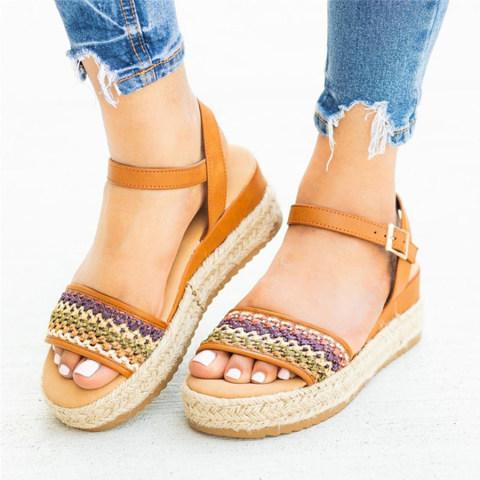 Bohemian Peep Toe Casual Date Travel Wedge Sandals