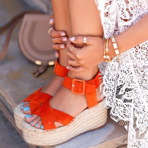 Animal Printed Plain Peep Toe Casual Date Travel Wedge Sandals