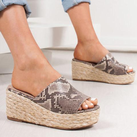 Animal Printed Plain Peep Toe Casual Travel Slippers