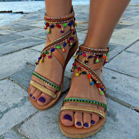 Bohemian Peep Toe Date Travel Flat Sandals