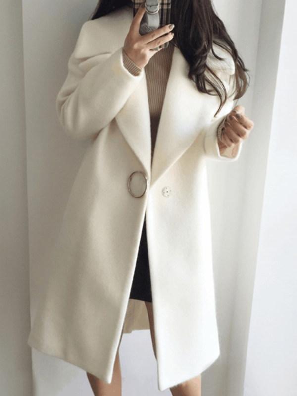Lapel Single Button Plain Pocket Woolen Coat