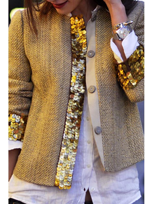 Fashion Sequins Splicing Long Sleeve Cardigan