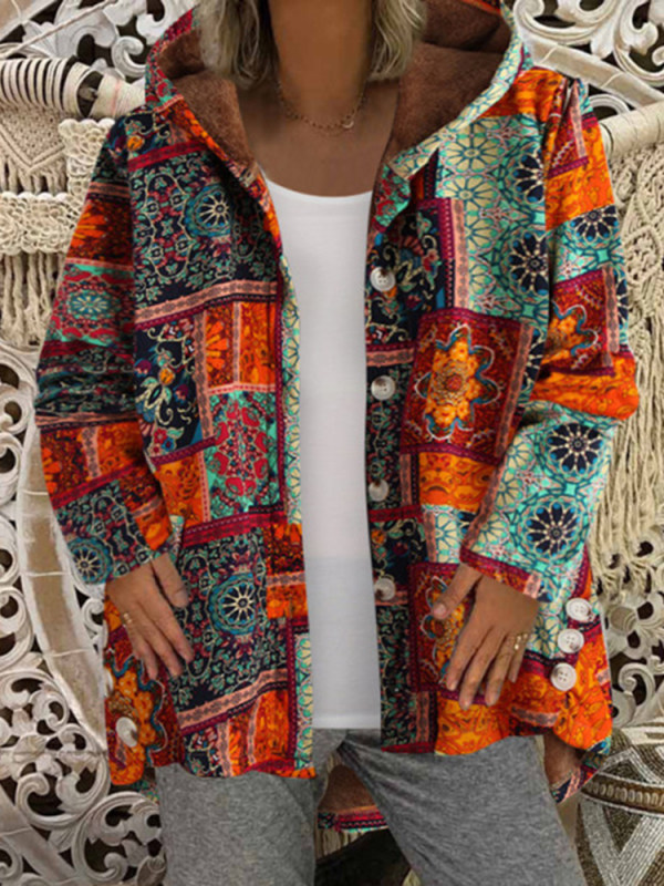 Casual printed hooded plush jacket