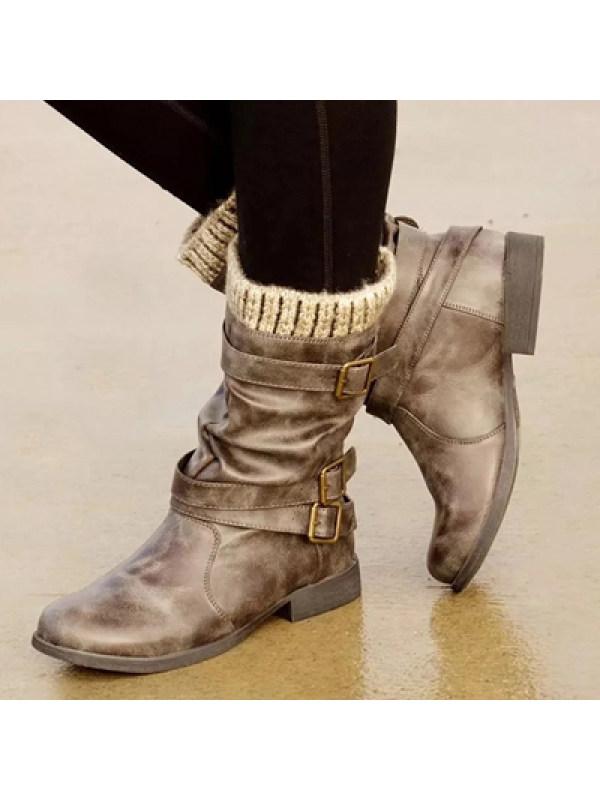Women's woolen tube Martin boots