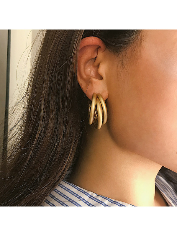 Retro Matt Geometry C-Shaped Tube Earrings Female