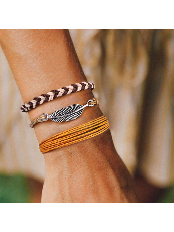Alloy feather hand-woven wax rope bracelet