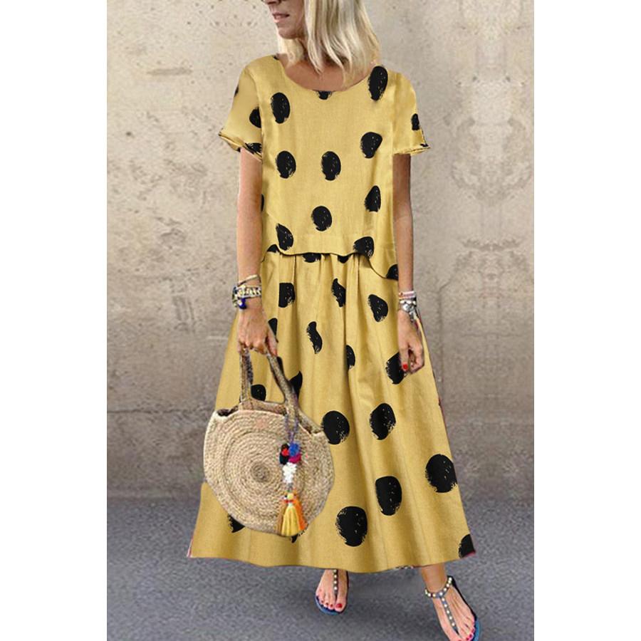 A Casual Dot Print Short Sleeved Dress