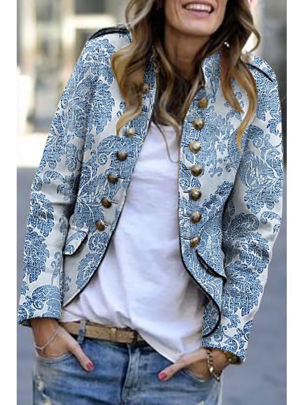Fashion Print Long Sleeve Suit Cardigan