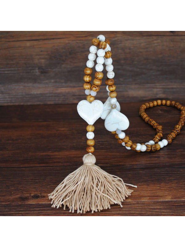 Handmade String Beads Long Necklace