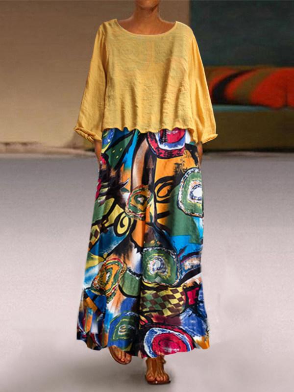 Fashion Printed Colour Round Neck Dress Two-Piece Set