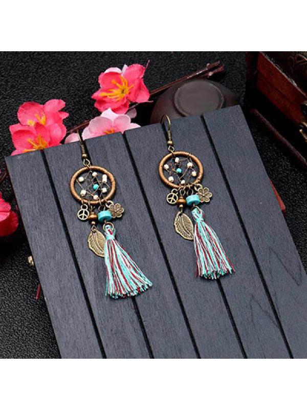 Ethnic style blue beads leaves dream catcher tassel earring