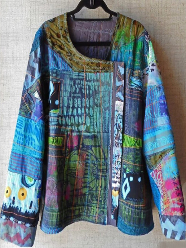 Abstract Vintage Ethnic Style Print Top