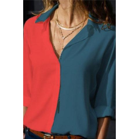 A Lapel Long Sleeve Color Block Blouse