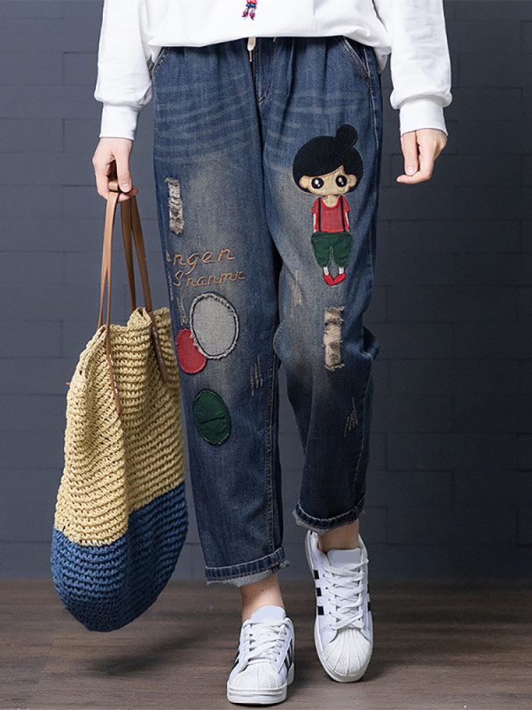 Slim embroidery loose hole patch trousers