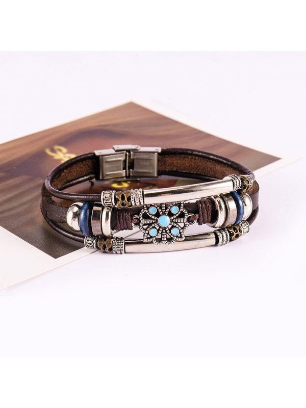Vintage multi-layer leather bracelet