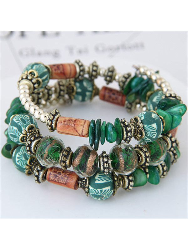 Multi-layer colorful stone shell bracelet