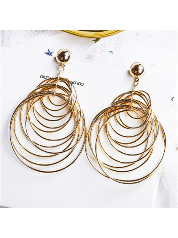 Exaggerated Sexy Geometry Large Metal Earrings