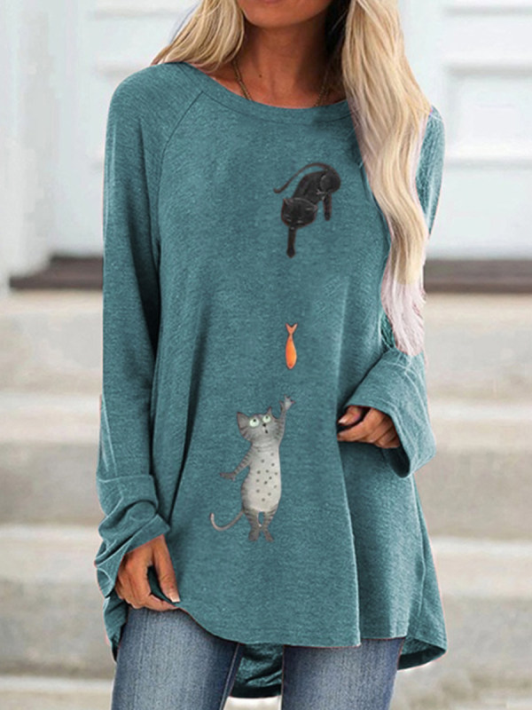 Round neck cat catch fish cartoon l printed loose long sleeve T-shirts