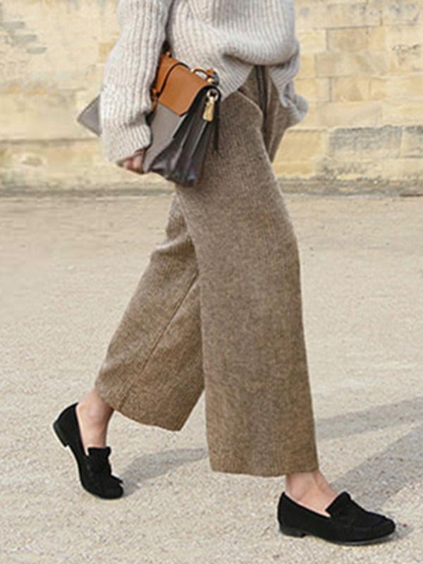 Wool loose cropped straight woolen pants