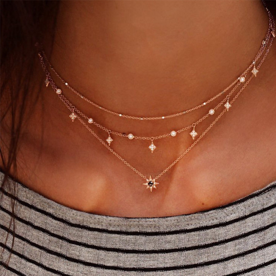 Fashion multilayer star pendant necklace