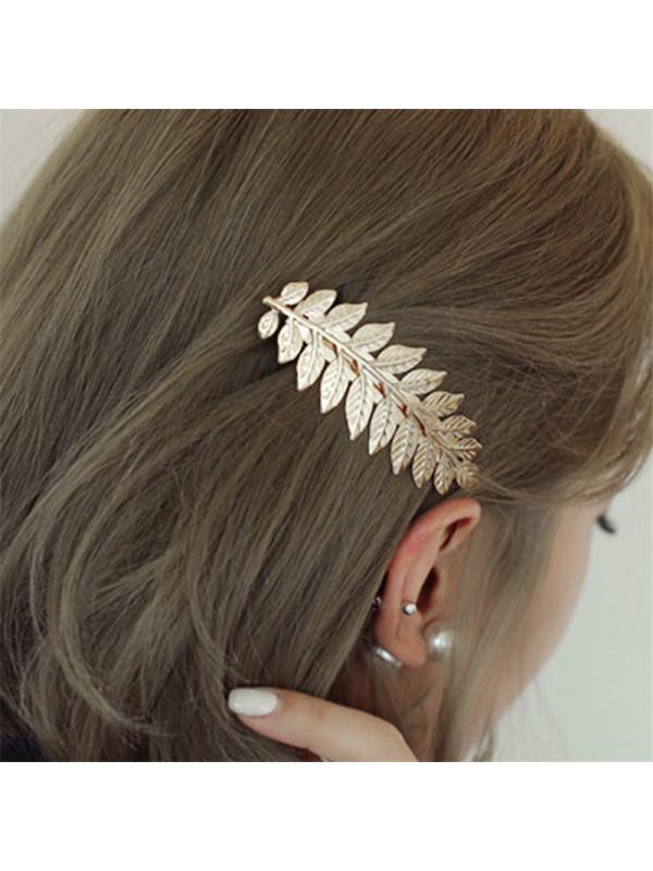 Metal leaf hairpin clip