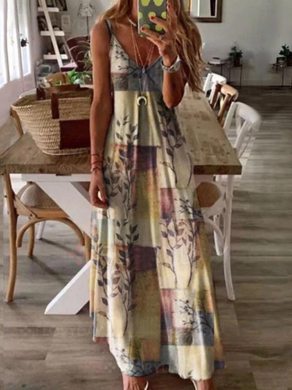 Vintage Printed Camisole Maxi Dress