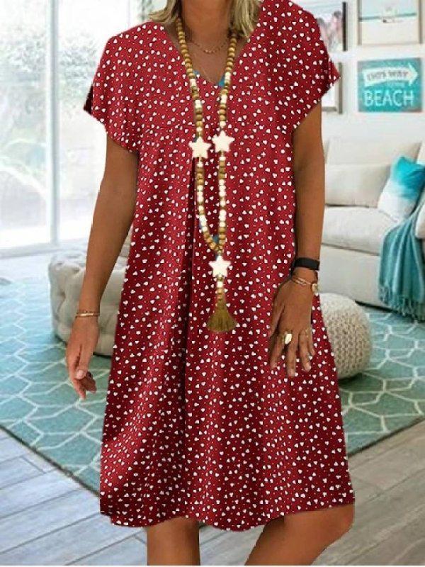 V Neck Short Sleeve Polka Dot Casual Dress