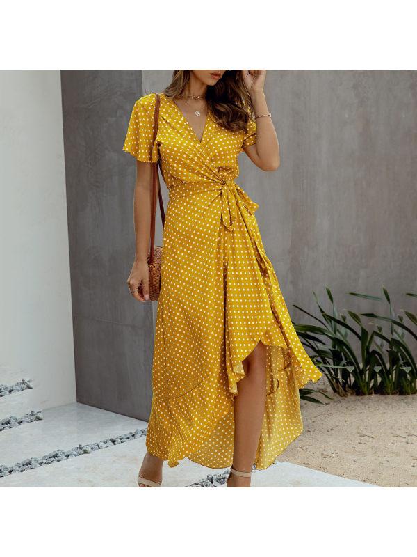 Fashion wave point sexy V-neck ruffled short sleeve dress