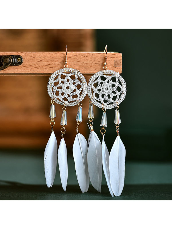 Feather tassel earrings women's long dream catcher drop earrings