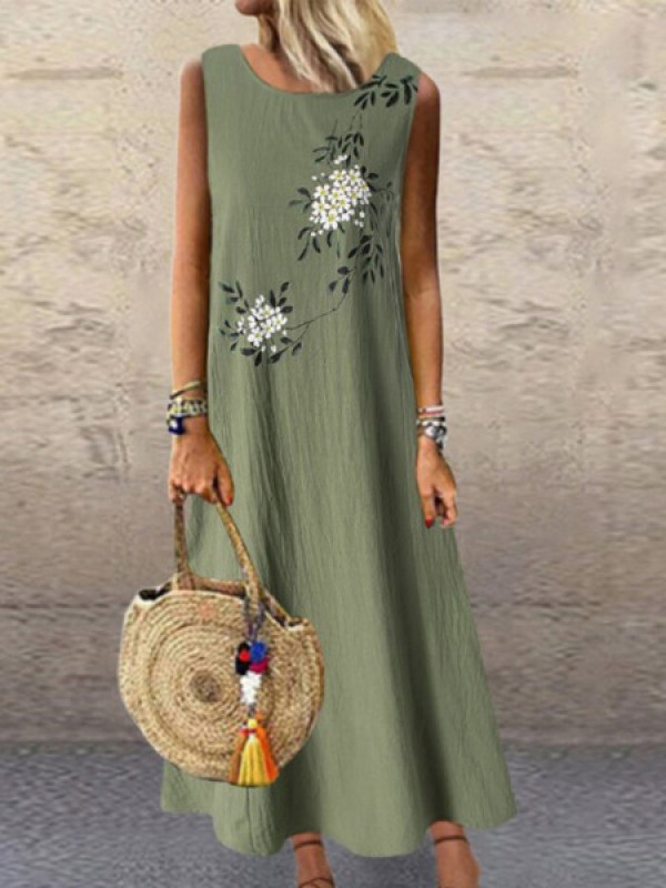 Cotton And Linen Printed Round Neck Sleeveless Dress