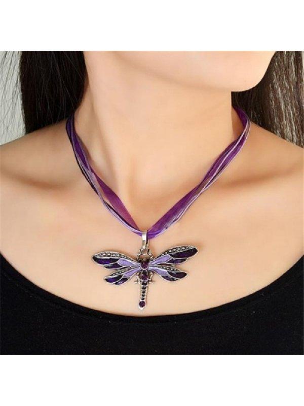 Vintage dragonfly multicolor necklace