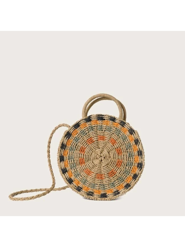 Round Shaped Woven Satchel Bag